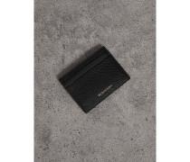 Kartenetui aus House Check-Gewebe und genarbtem Leder