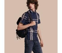 Kurzärmeliges Hemd aus Stretchbaumwolle in Check