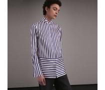 Gestreifte Bluse aus Baumwollseide mit Kläppchenkragen
