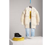 Cardigan-Mantel aus Wolle und Kaschmir mit strukturierten Strickmustern