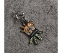 Schlüsselanhänger mit Lederbesatz und witzigem Fantasiewesen