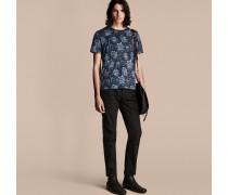 Baumwoll-T-Shirt mit Pfingstrosenmuster