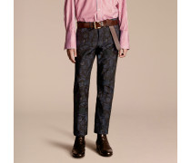 Schmale Jeans aus floralem Jacquardgewebe