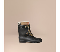 Duck Boots aus Lammveloursleder mit Check-Muster