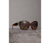Extragroße Sonnenbrille mit eckigem Gestell und Schnallendetail