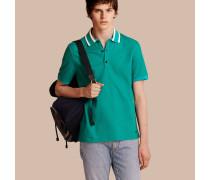 Poloshirt aus Baumwollpiqué mit gestreiftem Kragen