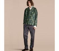 Hose im Pyjamastil aus Baumwollseide mit Streifenmuster