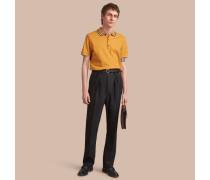 Poloshirt aus Baumwollpiqué mit Streifendetail am Kragen