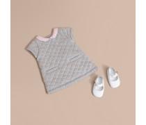 Kleid in A-Linie aus gesteppter Baumwolle mit Karokragen