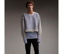 Unisex-Sweatshirt mit Streifenpanel aus Baumwollseide
