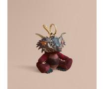 Teddybär-Anhänger aus Kaschmir mit Karomuster und  Beasts-Detail