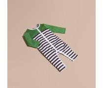 Gestreifter Strampelanzug aus Baumwolle mit Colour-Blocking