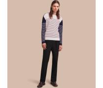 Pullover aus einer Kaschmirmischung mit kontrastierendem Streifenmuster