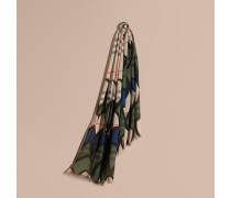 Schal aus Wolle und Seide mit Karomuster und Trompe-l'Œil-Effekt