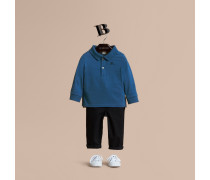 Langärmeliges Poloshirt aus Baumwolljersey
