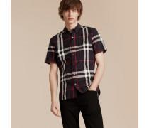 Kurzärmeliges Hemd aus Leinen und Baumwolle mit Check-Muster