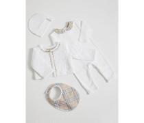 Vierteiliges Baby-Geschenkset mit Karodetail