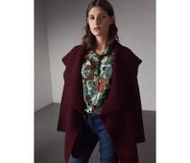 Cardigan-Mantel aus Wolle und Kaschmir mit Rippdetail