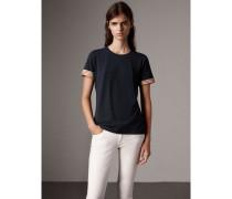 T-Shirt aus Stretchbaumwolle mit Check-Bündchen