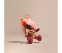 Teddybär-Anhänger mit regenbogenfarbenem Lammfellbesatz