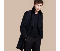 Zweireihiger Mantel aus einer Mischung aus Wolle, Kaschmir und technischer Faser mit Pelzkragen