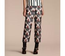 Hose aus Seidentwill im Pyjamastil mit kürzerer Beinlänge und Burgmotiv