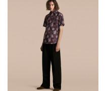Kurzärmeliges Baumwollhemd mit Pfingstrosenmotiv