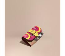 Brieftasche im Kontinentalformat aus House Check-Gewebe und Natternleder