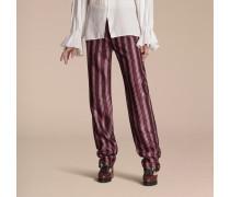 Hose im Pyjamastil aus Baumwolle und Seidensatin mit Panamastreifen