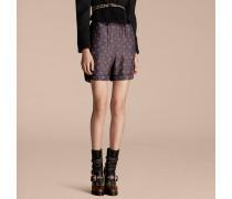 Shorts im Pyjamastil aus Seide mit großflächigem, geometrischem Kachelmuster