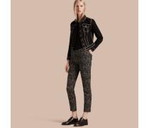 Hose aus Wolle und Baumwolle mit abstraktem Check-Muster