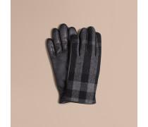 Touchscreen-Handschuhe aus Wolle und Leder in Check
