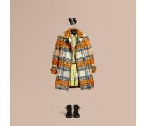 Mantel aus einer gebürsteten Mischung aus Wolle und Mohair mit Schottenmuster
