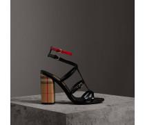 Sandalen aus Vintage Check-Gewebe und Lackleder