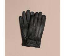 Touchscreen-handschuhe Aus Leder Mit Check-prägung