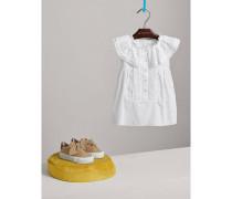 Baumwollkleid in A-Linie mit Spitzen- und Biesendetails