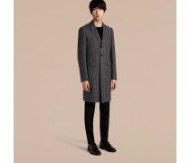 Körperbetonter Mantel aus Wolle mit Fischgrätmuster