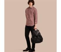 Baumwollhemd mit Strichmuster in Pinselstrichoptik