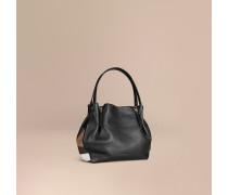 Mittelgroße Lederhenkeltasche mit Check-Detail