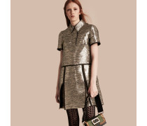 Hemdkleid aus Jacquardgewebe in Metallic-Optik