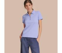 Poloshirt aus einer Baumwollmischung mit Spitzenbesatz und Karodetail