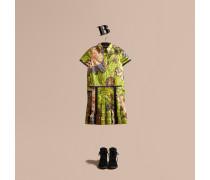 Hemdkleid aus Lamé mit floralem Muster