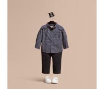 Baumwollhemd mit Punktmuster und Button-down-Kragen