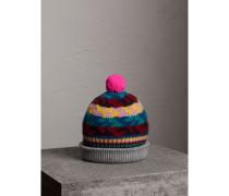 Beanie aus Kaschmir und Wolle im Fair Isle-Design mit Bommel
