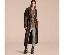 Mantel aus Seidentwill im Morgenrock-Design mit geometrischem Muster