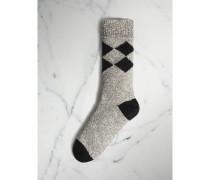 Strickstrümpfe aus Baumwolle mit Rautenmuster und Mouliné-Effekt