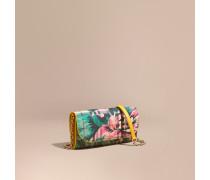 Brieftasche aus Haymarket Check-Gewebe mit Pfingstrosenmotiv und Kette