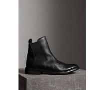 Chelsea-Stiefel aus poliertem Leder mit Brogue-Detail