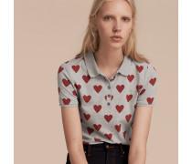 Poloshirt aus Stretchbaumwollpiqué mit Herzmuster