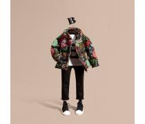 Wattierter Mantel Mit Packbarer Kapuze Und Floralem Muster
